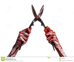 halloween white background halloween theme bloody hand holding a big old bloody scissors on