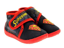 childrens superman velcro slippers slipper boots boys shoes