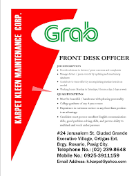 Service Desk Officer Front Desk Officer Grab Kkmc Search Searches In The
