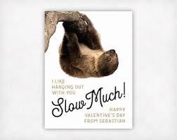 sloth valentines day card sloth etsy