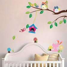 Forest Nursery Wall Decals by Children Kids Room Wall Sticker Diy Removable Forest Owl Tree Bird