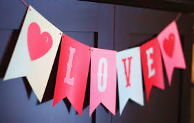 love banner photo prop valentines decor in pink red aqua the
