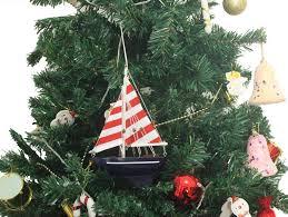 wooden nautical delight model sailboat tree ornament