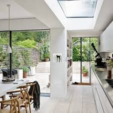 galley kitchen extension ideas flushglaze in kitchen extension inside out sky only view