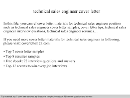 technical sales engineer cover letter