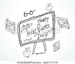 hand sketch happy teachers day card design vector stock