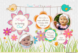 birthday invitation baby 1st flowers sweet tweet