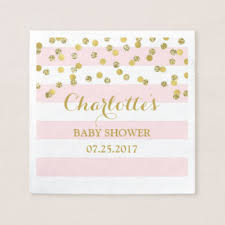 baby shower paper pink gold confetti baby shower paper napkins zazzle