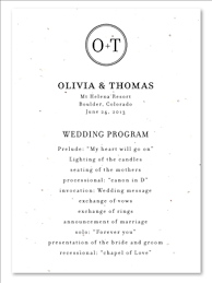 classic wedding programs classic monogram wedding programs on white seeded paper by