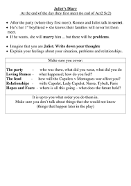 romeo and juliet diary task by soxy14 teaching resources tes