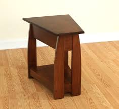 Cherry Wood End Tables Living Room Furniture Small Narrow End Table In Wedge Shape With Shelf