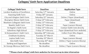 college sixth form application deadlines lister community
