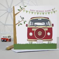 personalised retro camper van birthday card