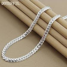 necklace chain sterling silver images New arrivals women 6mm full sideways silver necklace 925 sterling jpg