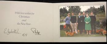 christmas cards sent by queen and prince philip emerge for sale