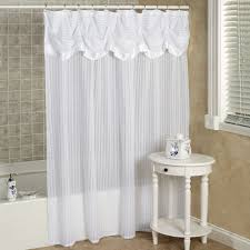 White Shower Curtains Nimbus Stripe Shower Curtain With Attached Valance