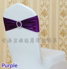 chair sashes wholesale purple colour shiny metallic lycra sash with buckle spandex