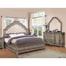 San Cristobal  Piece Queen Bedroom Set In Antique Silver - Furniture mart bedroom sets