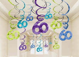60th birthday decorations 60th birthday hanging swirl decorations value pack 30 ct