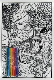 a4 narrowboat felt colouring including felt pens