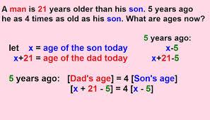 age problems worksheet