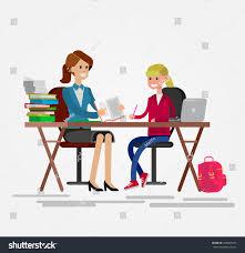Kid At Desk by Woman Teacher Tutor Tutoring Girl Kid Stock Vector 405005473