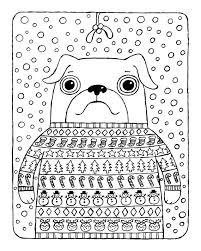 christmas coloring pug christmas jumper mistletoe