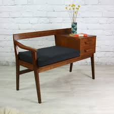vintage teak 1960s telephone seat home decor design furniture omg