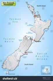 Map New Zealand Map New Zealand Borders Gray Stock Illustration 172156544