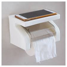 Paper Holder by Waterproof Toilet Paper Holder Tissue Roll Stand Box With Shelf