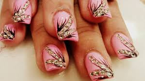 how to diamond nail art pink color youtube