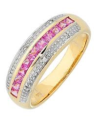 pink sapphire rings images Pink sapphire ring 9ct yellow gold pink sapphire and diamond png