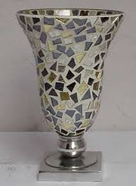 Mosiac Vase Mosaic Glass Flower Vase Mosaic Vases Glass Silver Flower Vases