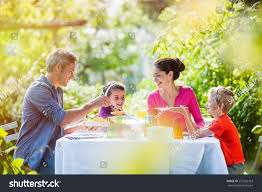 Family In The Garden Summertime Nice Family Daddy Mom Their Stock Photo 273256763