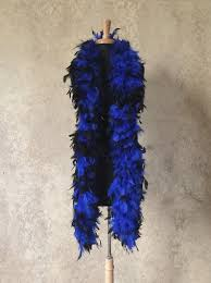 mardi gras feather boas 120 g gram gm black tipped royal blue chandelle feather boa