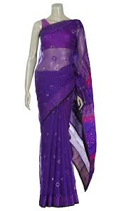 arong saree purple printed and embroidered half silk jamdani saree
