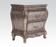 Antique Finish Bedroom Furniture Chantelle Collection Chest In Antique Silver Finish 5 Drawers