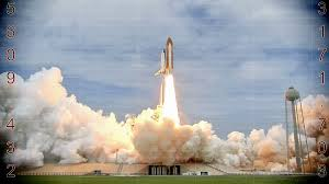 launching of a rocket into space with countdown video clip stock