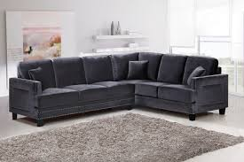 Grey Velvet Sectional Sofa Meridian Furniture Ferrara 655gry 2pc Modern Grey Velvet Sectional