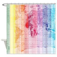 Amazon Com Shower Curtains - curtains amazon com cafepress rainbow world map shower curtain