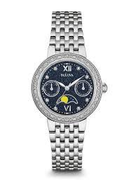 bulova ladies bracelet images Women 39 s diamond stainless steel blue dial quartz classic watch jpeg