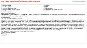 trailer truck driver application letter