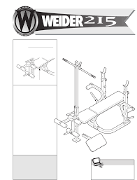 Weider 215 Bench Weider Home Gym Webe08900 User Guide Manualsonline Com