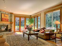wood trim ideas family room rustic with leather sofa family room