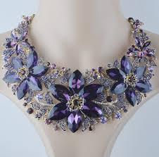 colored necklace set images Online shop statement necklace set wedding party purple color jpg