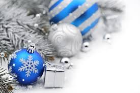 merry new year blue silver balls bokeh gifts merry