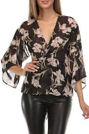 black wrap blouse honey punch floral wrap blouse from california by zae s boutique