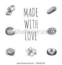 hand drawn cake sketches set collection stock vector 710835673