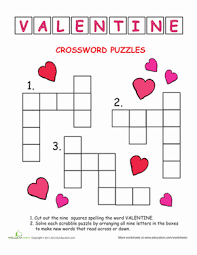 crossword valentine u0027s day worksheet education com