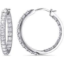 silver hoops miabella 3 1 2 carat t g w created white sapphire sterling silver